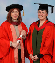 Jules Wright, Doctor of Letters, with Dr Angela Piccini, Senior Lecturer in Screen Media