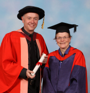Michael Winterbottom, Doctor of Letters, with Professor Sarah Street, Professor of Film and Foundation Chair of Drama