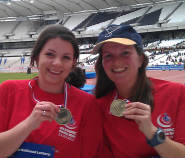 Suzi Gage, right, with her sister in the Olympic stadium