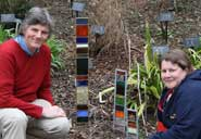 Garden Curator, Nick Wray (left), with stained-glass sculptor Jude Goss