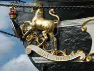 Decorations on the bow of the ss Great Britain