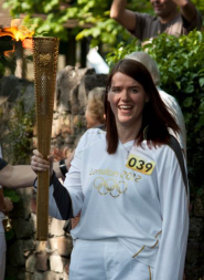 Bettina Urban carrying the Olympic torch