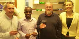 Mphoeng Ofithile with EfA founder Dr Kate Evans and examiners Professor Gareth Jones from Bristol's School of Biological Sciences (left) and Dr Martyn Gorman (University of Aberdeen)