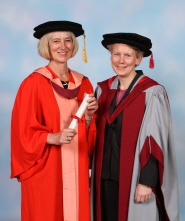Michelle McDowell with orator Professor Sally Heslop