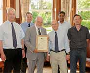 Members of the Stunning and Slaughter Group with their HSA award: left to right – Mr Steve Wotton MBE, Mr Lindsay Wilkins, Dr Mike O'Callaghan, Dr Toby Knowles, Dr Mohan Raj, Dr Jeff Lines