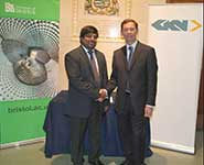 Professor Nishan Canagarajah, Dean of Engineering at the University of Bristol [left] with Dr Andrew Clarke, Vice President, Engineering, GKN Aerospace