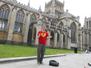 Tour guide James Bogie outside Bristol Cathedral