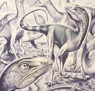 This image of Thecodontosaurus by Fabio Pastori was the winning entry in the 'Professional' category of the 2012 Bristol Dinosaur International Illustration Competition