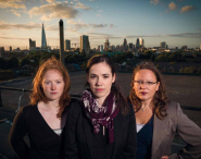 February's photo: Alison Auld, Ellie Cosgrave and Michelle Oyen on the roof of The Biscuit Factory in London