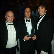Members of the University of Bristol Innocence Project (from left to right DrMichael Naughton, Mark Allum and Ryan Jendoubi) with their 2012 Bristol Law Society Pro Bono Award