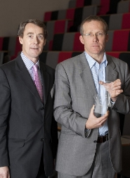 David Rowe, UKBI Chairman, presents the award to Nick Sturge, Director of the Bristol SETsquared Centre