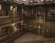 A computer generated image of the interior of The Sam Wanamaker Theatre