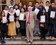 Some of the Scholarship winners with Pro Vice-Chancellor Professor Nick Lieven