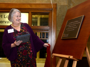 Lady Hale unveils a plaque to mark the official re-opening of the Wills Memorial Library
