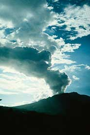A small eruption of the Soufriere Hills Volcano, Montserrat. Models used to predict how much ash is pumped into the atmosphere and where it goes during a volcanic eruption are being informed by world-leading volcanology experts from the University of Bristol.