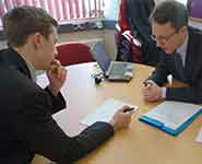 A first year student being interviewed for an internship