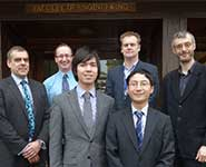 From L to R: Shane Bennison (Engineering Director, Boeing Defence UK); Professor Andy Nix (Head of Electrical and Electronic Engineering); Michael Lawson (Electrical and Electronic Engineering 4th year); Professor Ian Bond (Head of Aerospace Engineering); Chenhui Liu (Aerospace Engineering, 4th year) and Dr Mark Gilbertson (Director of Undergraduate Education)