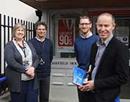 From left to right: Jane Vause, clinic manager; Professor Yoav Ben-Shlomo, head of the fathers study; Ross Robinson, deputy executive director; and Mark, the 2,000th father