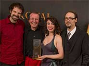 David Glowacki (far left) with George Ferguson, Laura Kriefman and Phill Tew at the awards ceremony