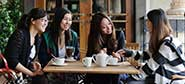 International students getting to know the local cafes