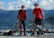 Marcus and Nick with their bikes in Deep Cove, British Columbia