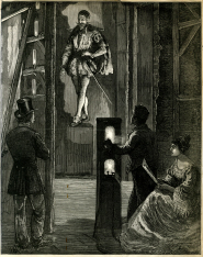 An engraving showing how the 'Pepper's Ghost' effect is created