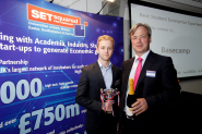 Will Pritchard, from Basecamp, collects their award from Nick Wheeler