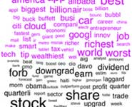 A word cloud based on Forbes magazine. The most popular words are colored in pink, and the least popular in black.