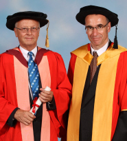 Professor David Townsend with orator Professor Nick Brook