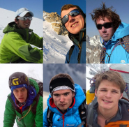The expedition team, from top left (clockwise): Ross Davidson, Harry Bloxham, Al Docherty, Harry Kingston, George Cave and Clay Conlon.