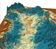 The canyon in a 3-D visualisation of the Greenland bedrock for the northern half of the island, looking north