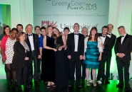 The University of Bristol's Sustainability Team collect the 'Continual Improvement: Institutional Change' Green Gown Award