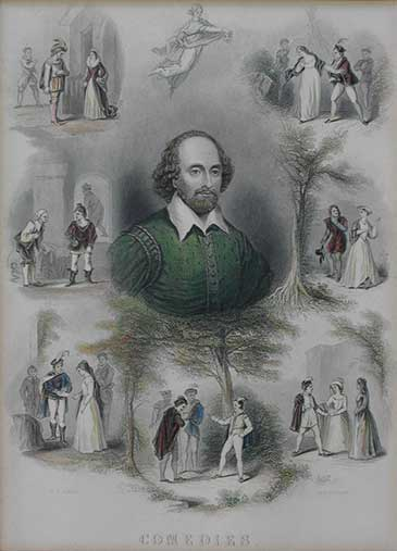 Engraving of William Shakespeare surrounded by scenes from his comedies