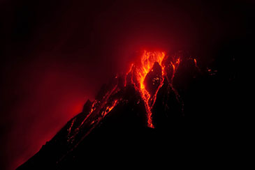 Image showing the eruption of the Montserrat volcano at night