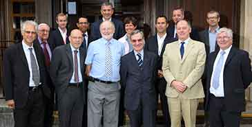 From left to right: Dr John May, Prof Peter Flewitt, Jean-Sebastioen Vogel-Gourgand, Prof David Smith, Regis Nhili (EDF), Neil Thomson (EDF), Prof David Clarke, Emmanuelle Pelletier (EDF), Yannick d'Escatha (EDF), Dr Tom Scott, Dr David Richards, Vincent de Rivaz (EDF), Prof Bruce Drinkwater and Andy Spurr (EDF)