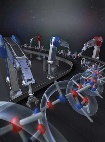 Image showing a hypothetical molecular  assembly line where reagents are effectively added to a growing carbon chain with extraordinary high fidelity and precision.