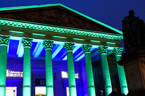 Victoria Rooms with green LED lights