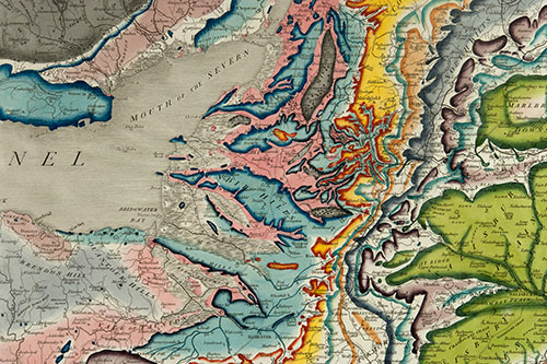 Image of a detail from William Smith's 1815 map