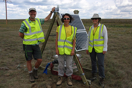 Image of the Bristol team at the site (Left to right: Michael Kendall, Anna Stork, Anna Horleston)