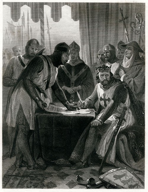 Image of an illustration showing King John signing Magna Carta