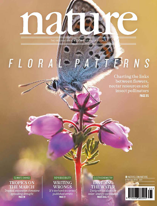 Image of cover of Nature featuring pollinators study