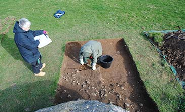 Image of excavating the eastern trench of Perthi Duon