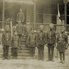 British, Chinese and Sikh members of Municipal Police, Shanghai, c.1890s