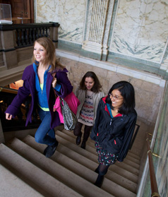Students inside a University building
