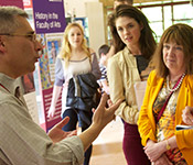 Open day visitors talking to a member of staff