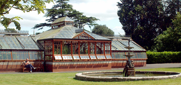 The botanic greenhouse in the School grounds